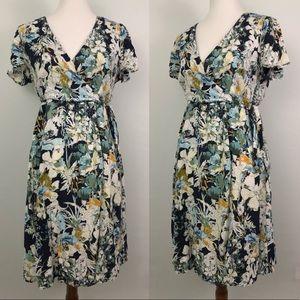Kori America Wrap Dress Fit & Flare Blue Floral